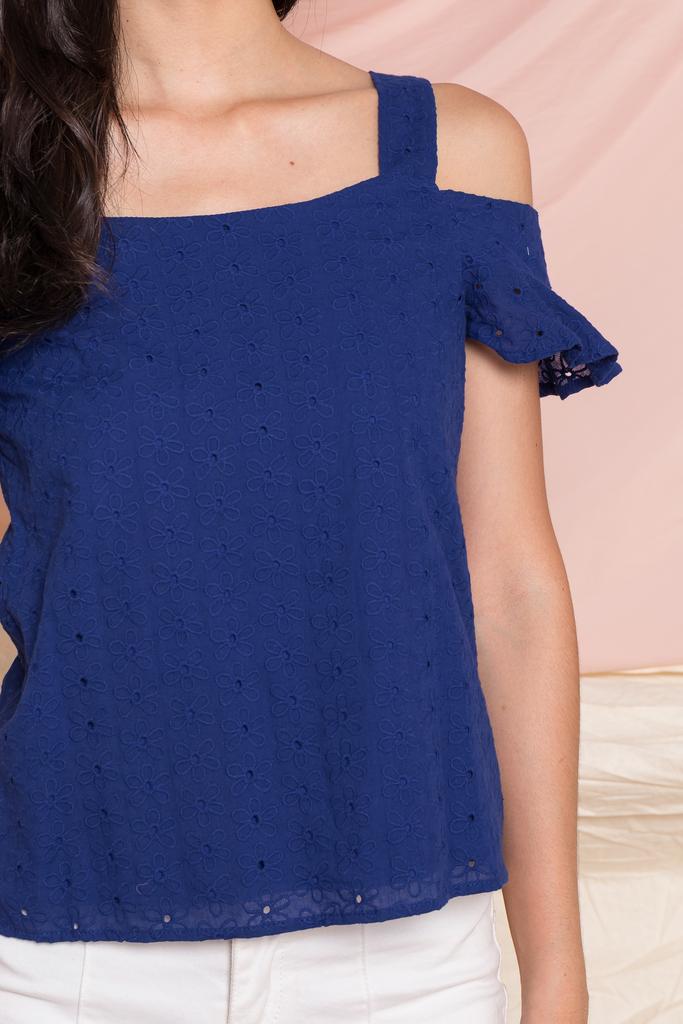 9c1988b915529d Almera Embroidered Cold Shoulder Top in Cobalt Blue