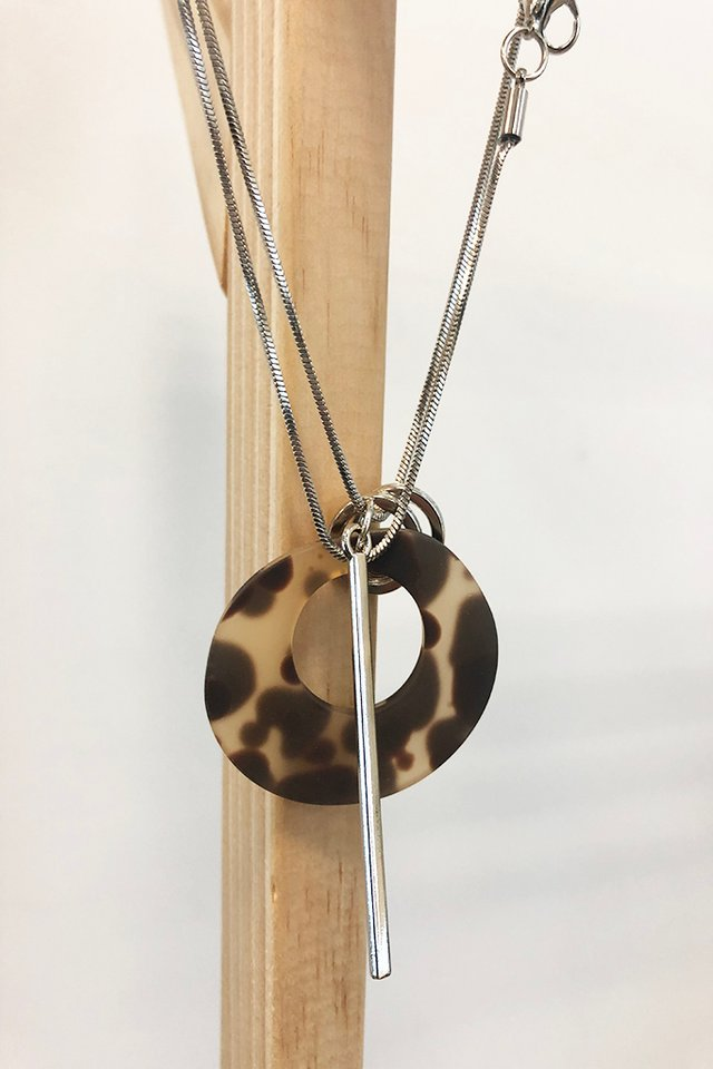 Tortoiseshell Necklace with Silver Accents