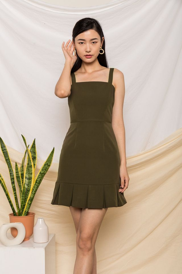 Jessamine Pleated Hem Dress in Olive