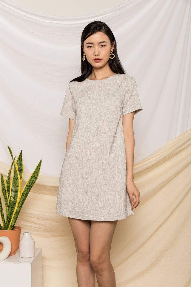 Portia Tweed Shift Dress in Off-White (XL)