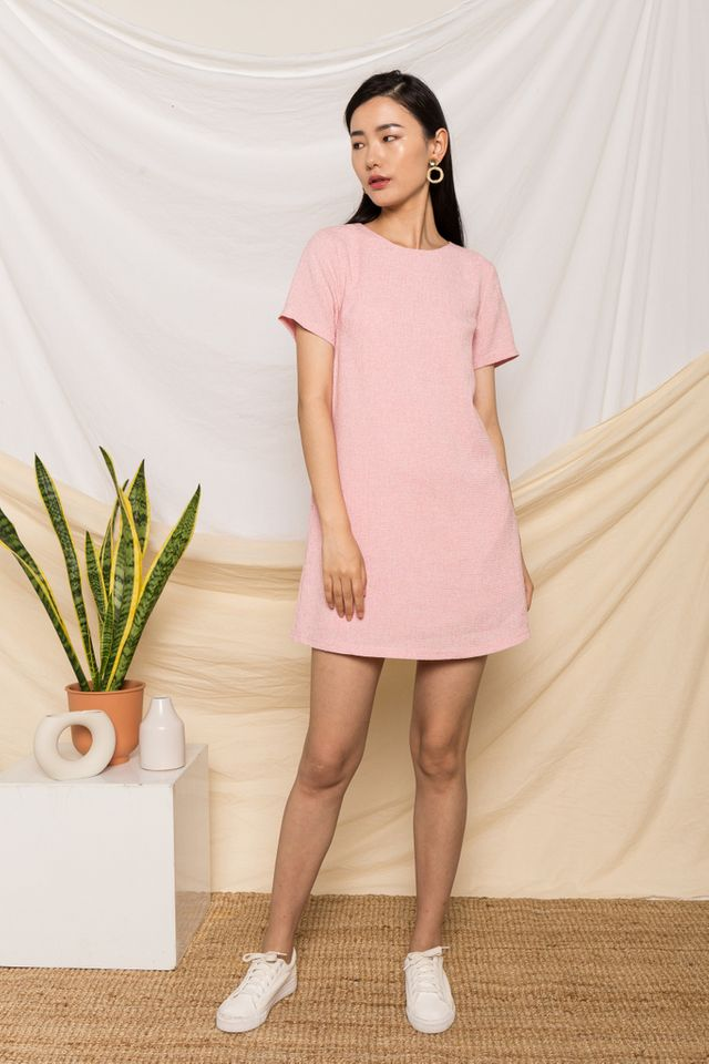 Portia Tweed Shift Dress in Pink