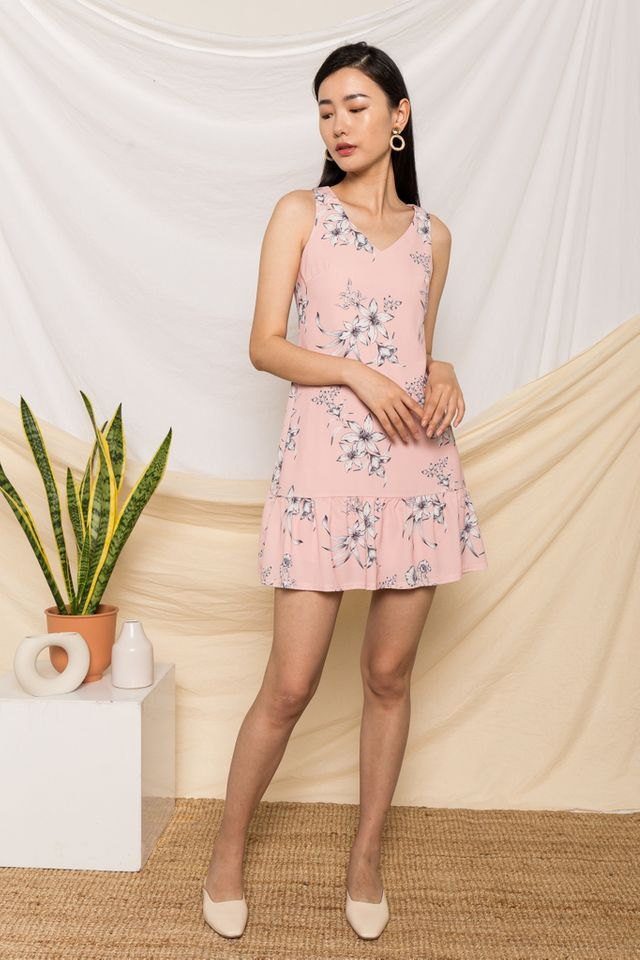 Libby Floral Dropwaist Dress in Pink