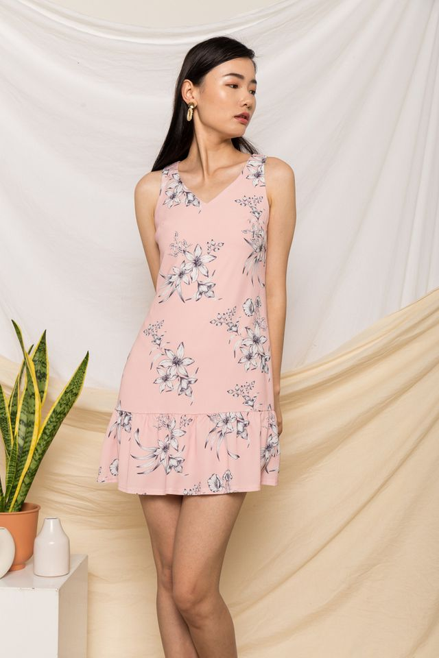 Libby Floral Dropwaist Dress in Pink (XS)