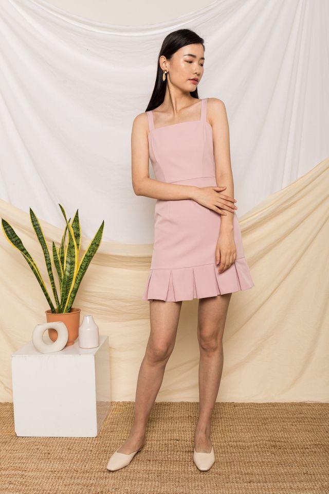 Jessamine Pleated Hem Dress in Dusty Pink
