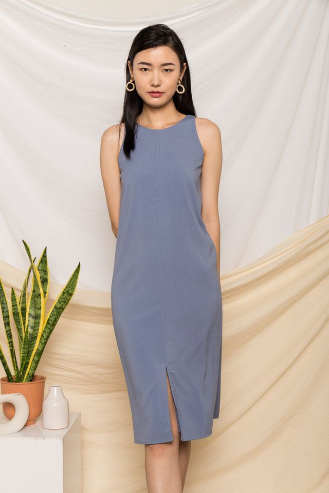 Evora Slit Midi Dress in Steel Blue