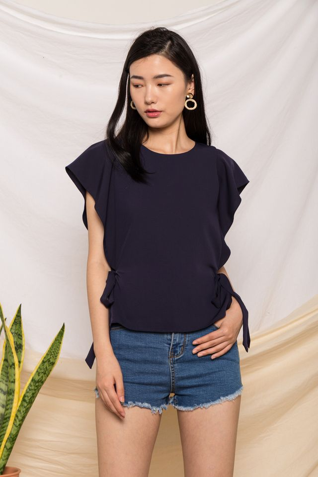 Eowyn Flutter Sleeve Top in Navy