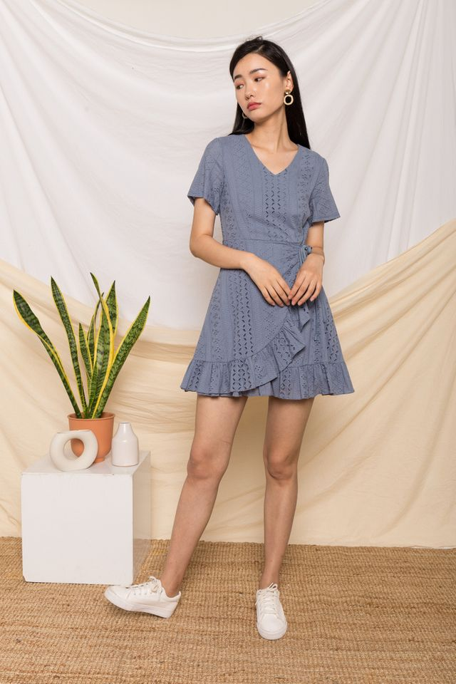 Eissa Embroidered Skater Dress in Steel Blue