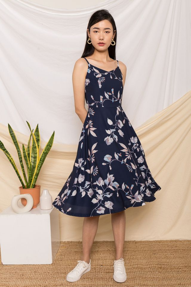 Mareta Floral Flare Midi Dress in Navy