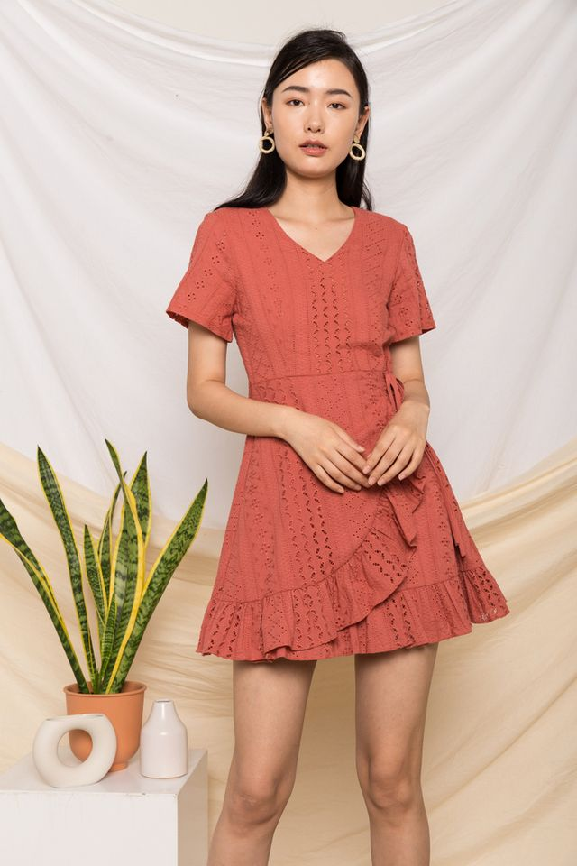 Eissa Embroidered Skater Dress in Terracotta