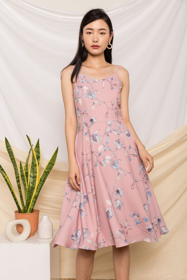 Mareta Floral Flare Midi Dress in Pink