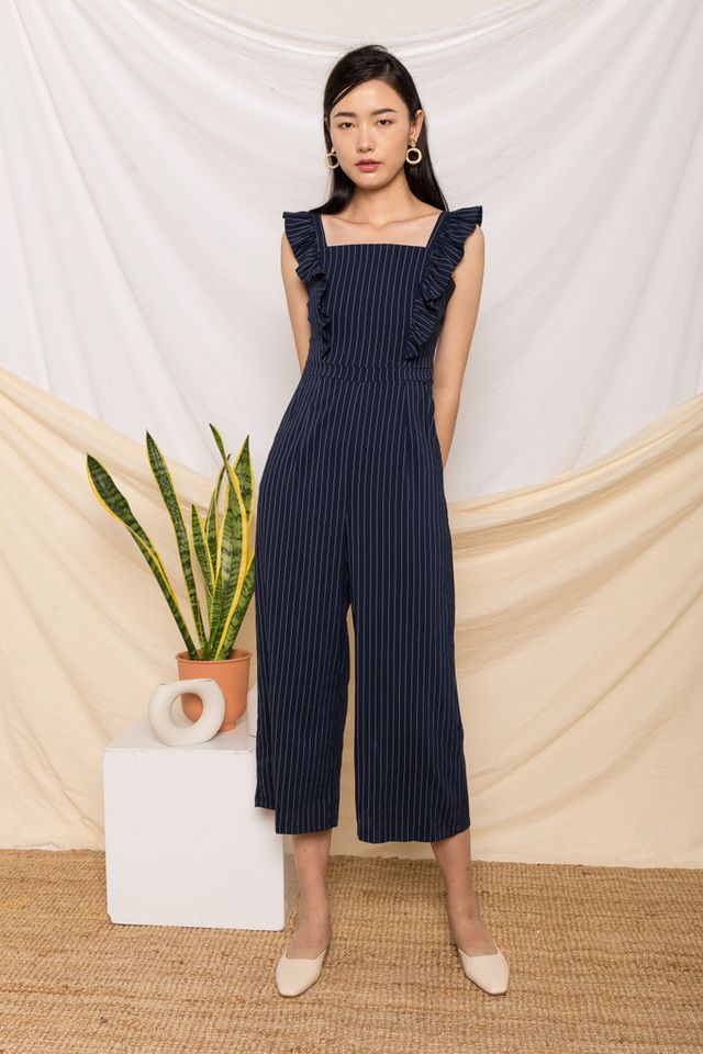 Arlenis Striped Ruffle Jumpsuit in Navy