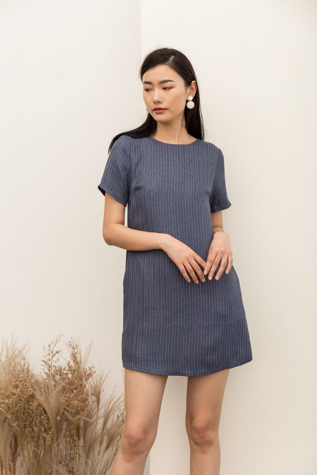Milena Chalk Striped Shift Dress in Denim Blue
