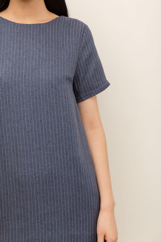 Milena Chalk Striped Shift Dress in Denim Blue