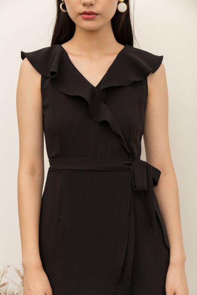 Odelle Ruffles Petal Dress in Black