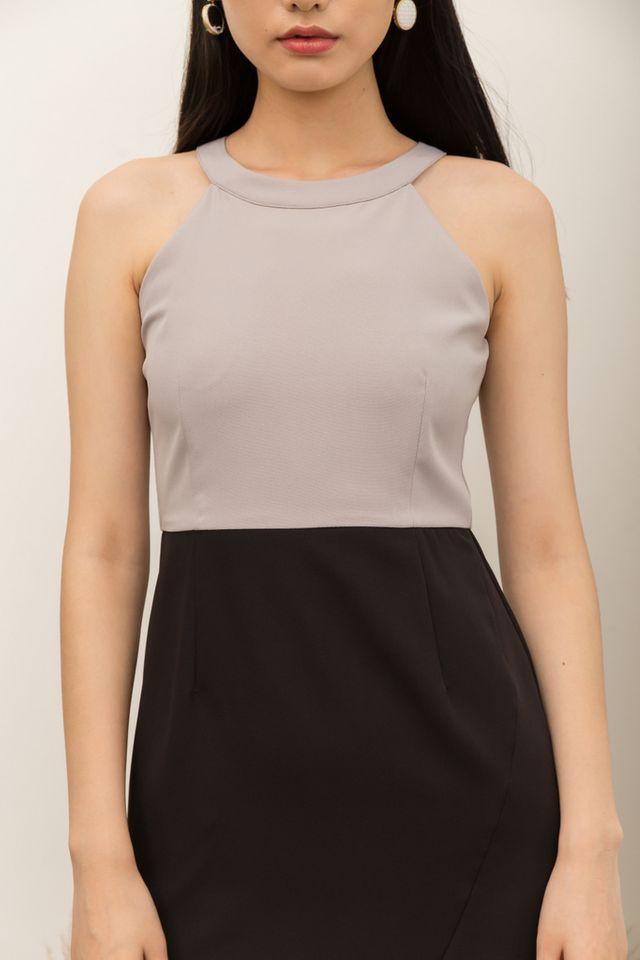 Quinney Colourblock Halter Dress in Grey