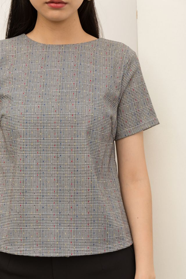 Adriel Dotted Plaid Top (XS)