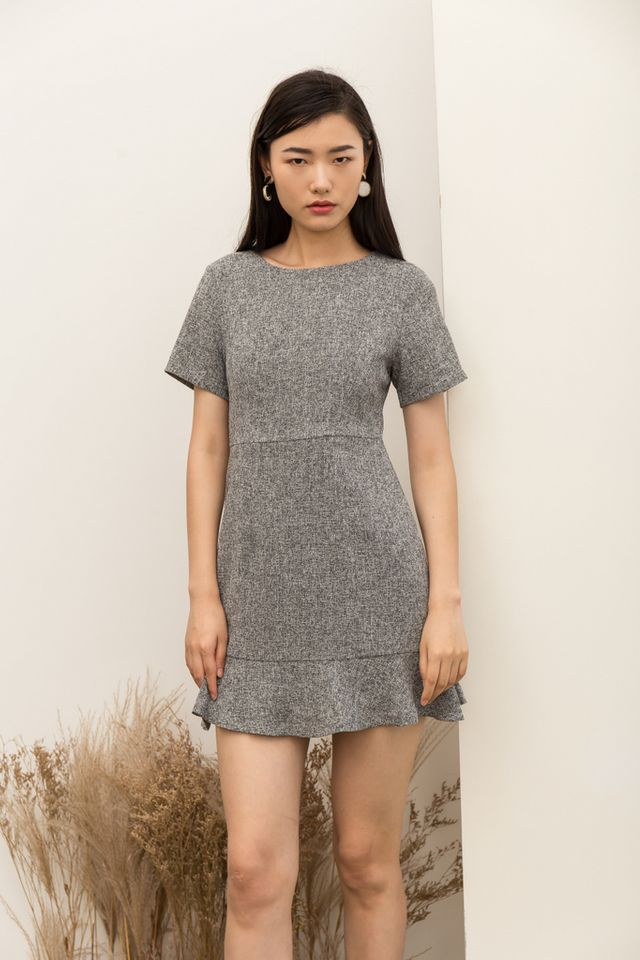 Reeva Tweed Skater Dress in Grey