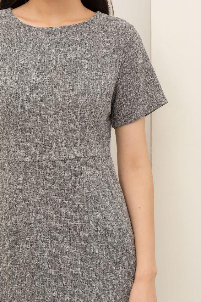 Reeva Tweed Skater Dress in Grey