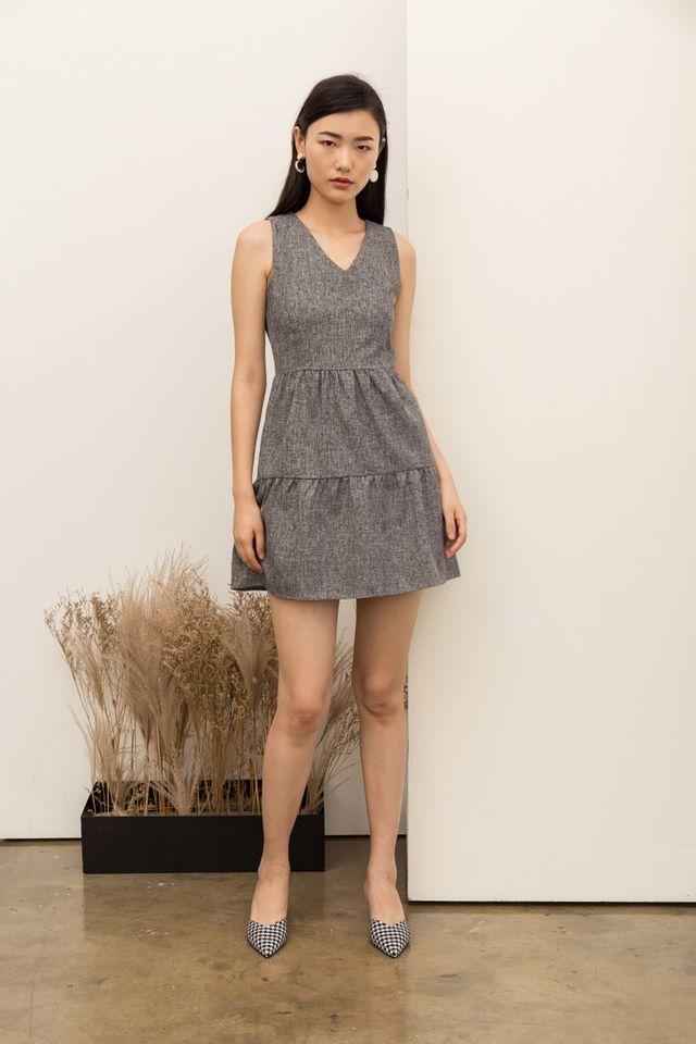Jobeth Tweed Ruffles Dress in Dark Grey
