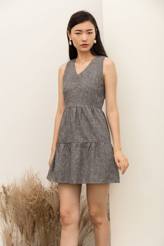 Jobeth Tweed Ruffles Dress in Dark Grey (XL)
