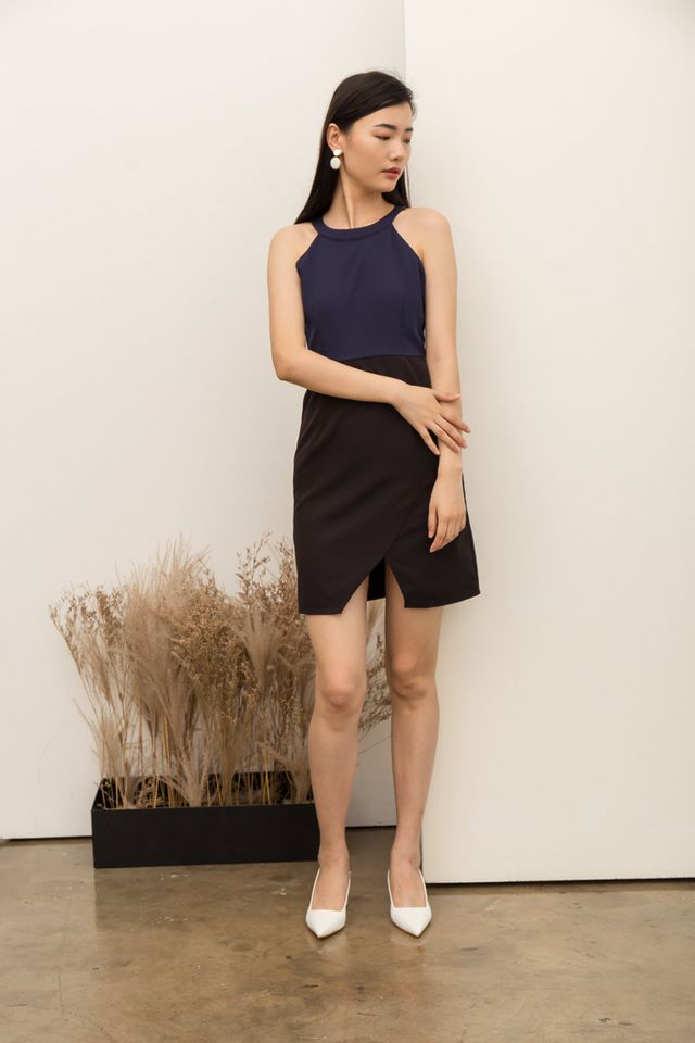 Quinney Colourblock Halter Dress in Navy