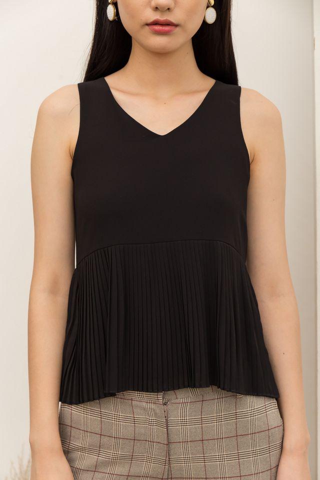 Briley Pleated Top in Black