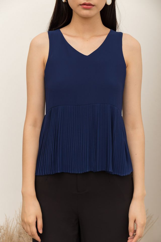 Briley Pleated Top in Navy