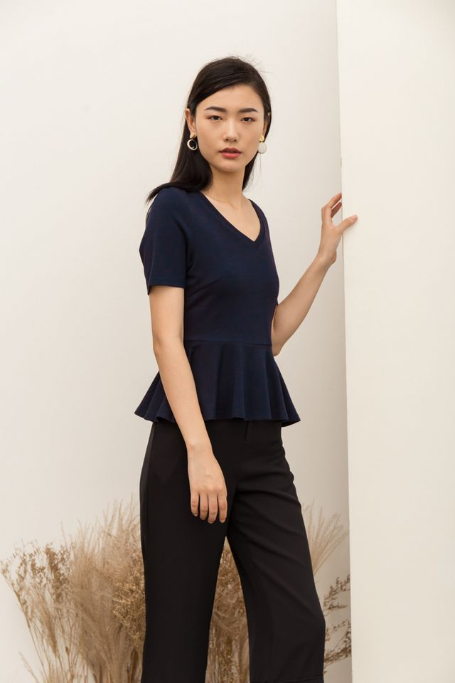 Carri Basic Peplum Top in Navy