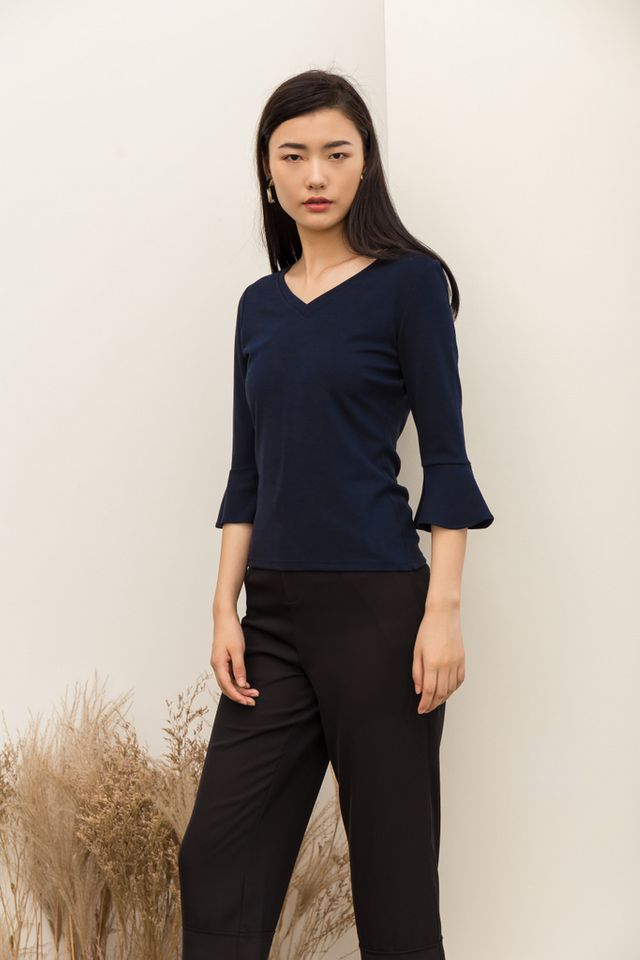 Rory Long Sleeved Basic Top in Navy