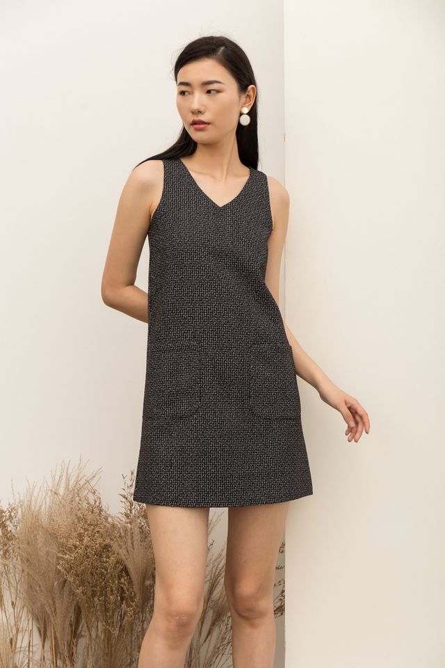 Fausta Tweed Front Pocket Dress in Black