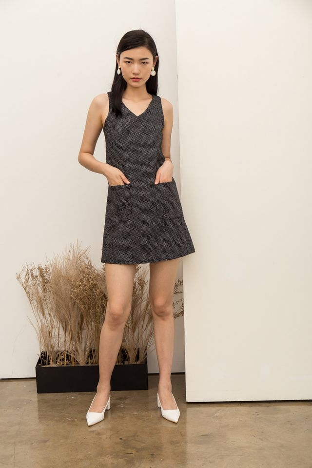 Fausta Tweed Front Pocket Dress in Black (XS)