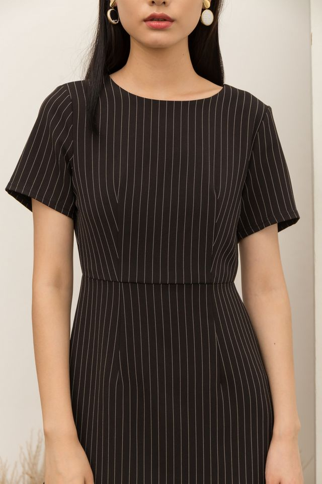 Maliya Striped Ruffles Hem Dress in Black (XS)