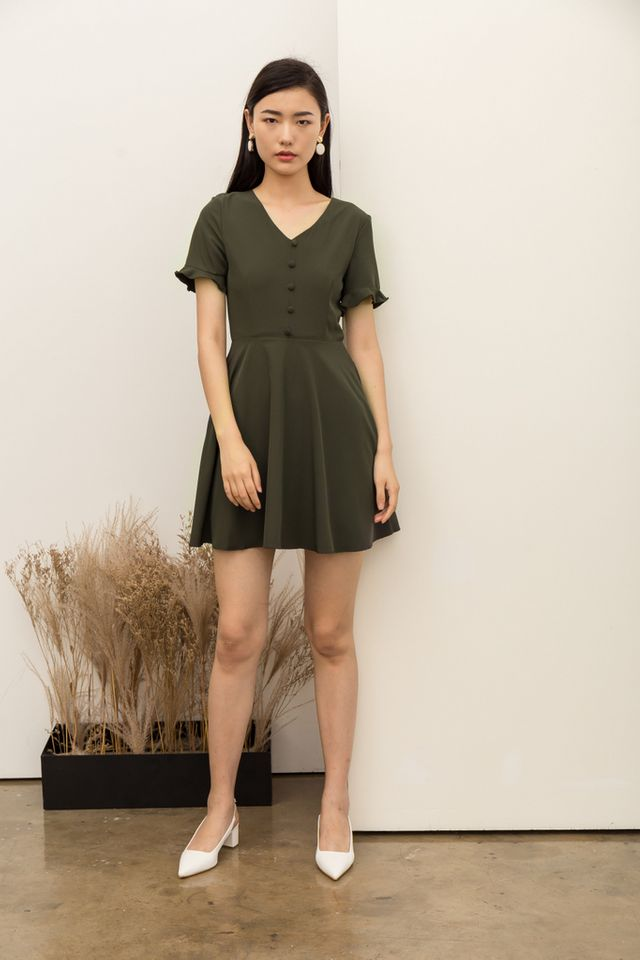 Vivienne Button Flare Dress in Dark Green