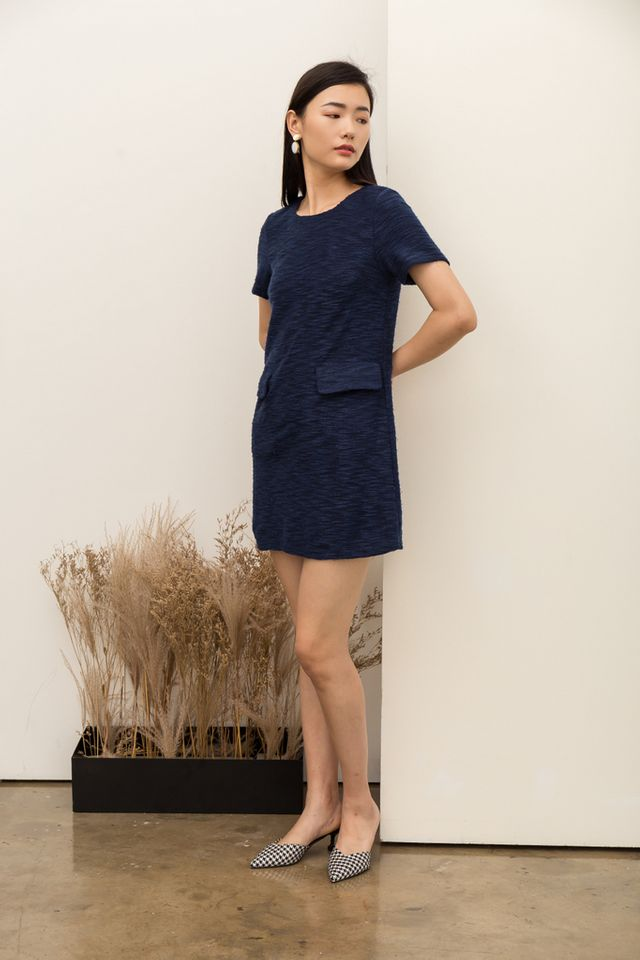 Jadine Textured Shift Dress in Navy