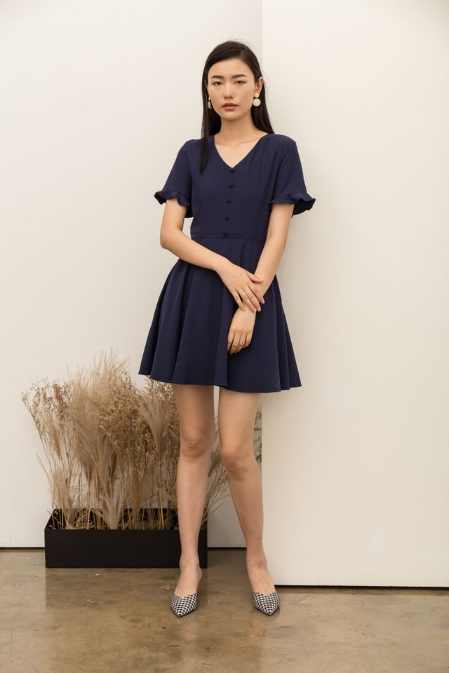 Vivienne Button Flare Dress in Navy (XS)
