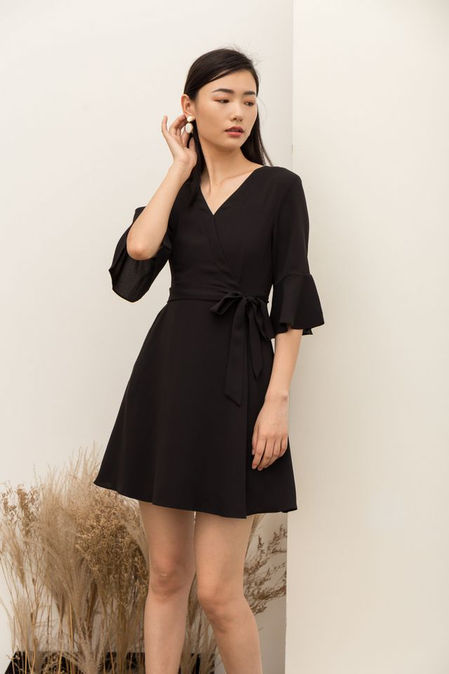 Abilene Faux Wrap Skater Dress in Black (XS)