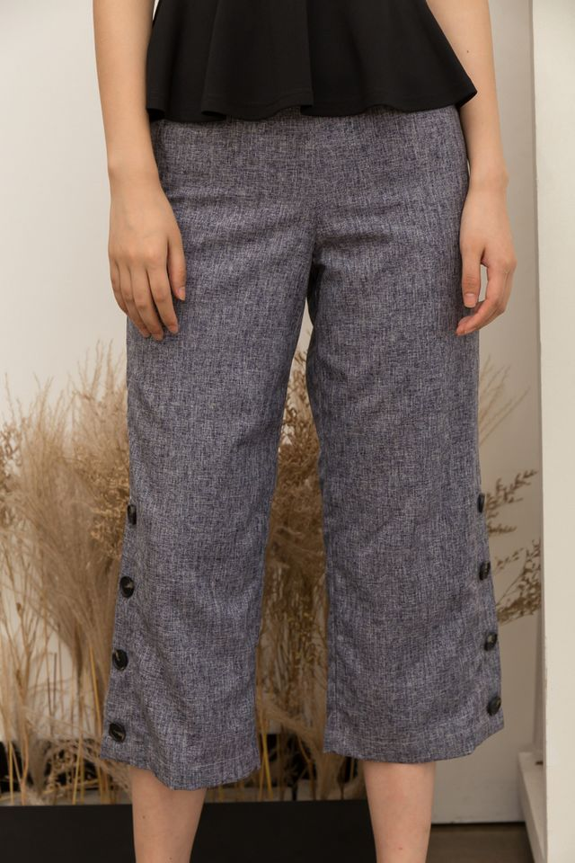 Salerno Tweed High-Waisted Culottes in Grey-Blue