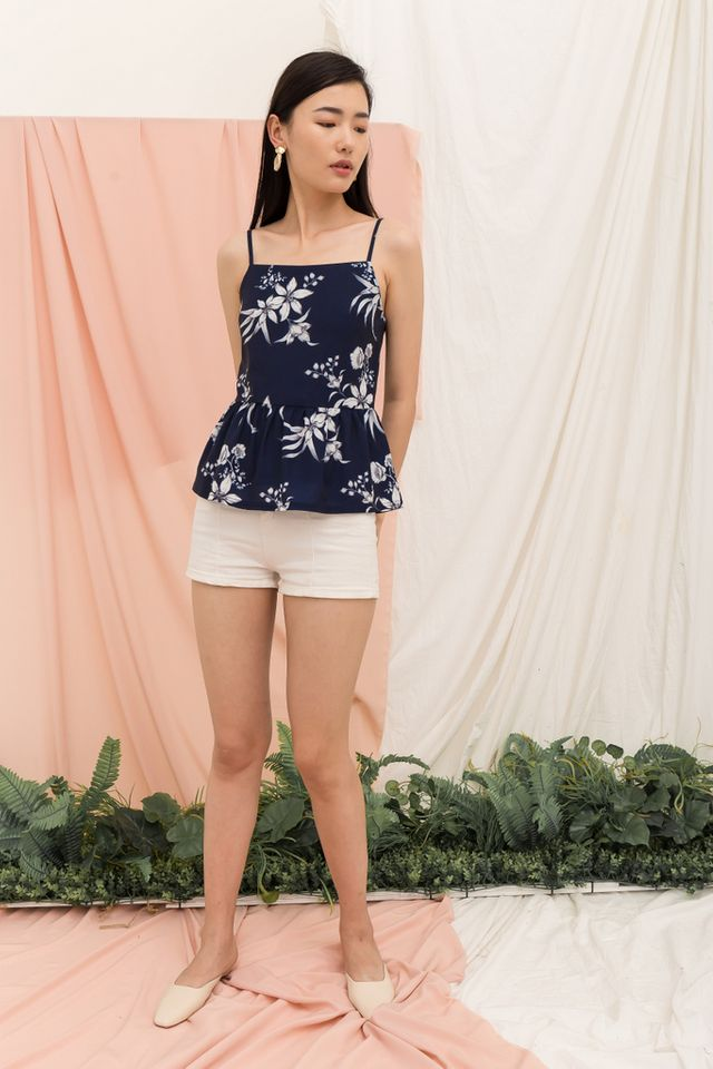 Mareisa Floral Babydoll Top in Navy