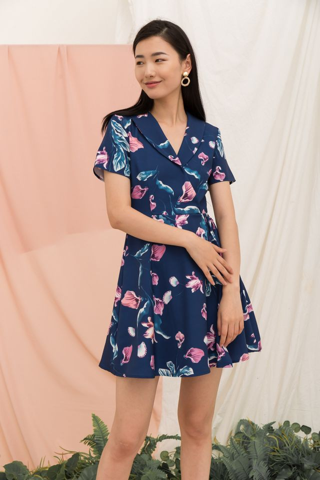 Cecilia Floral Faux Wrap Dress in Navy