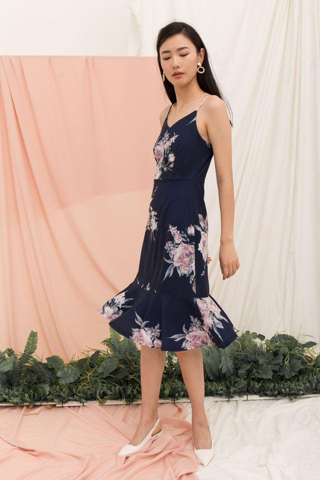 Krystle Floral Midi Dress in Navy