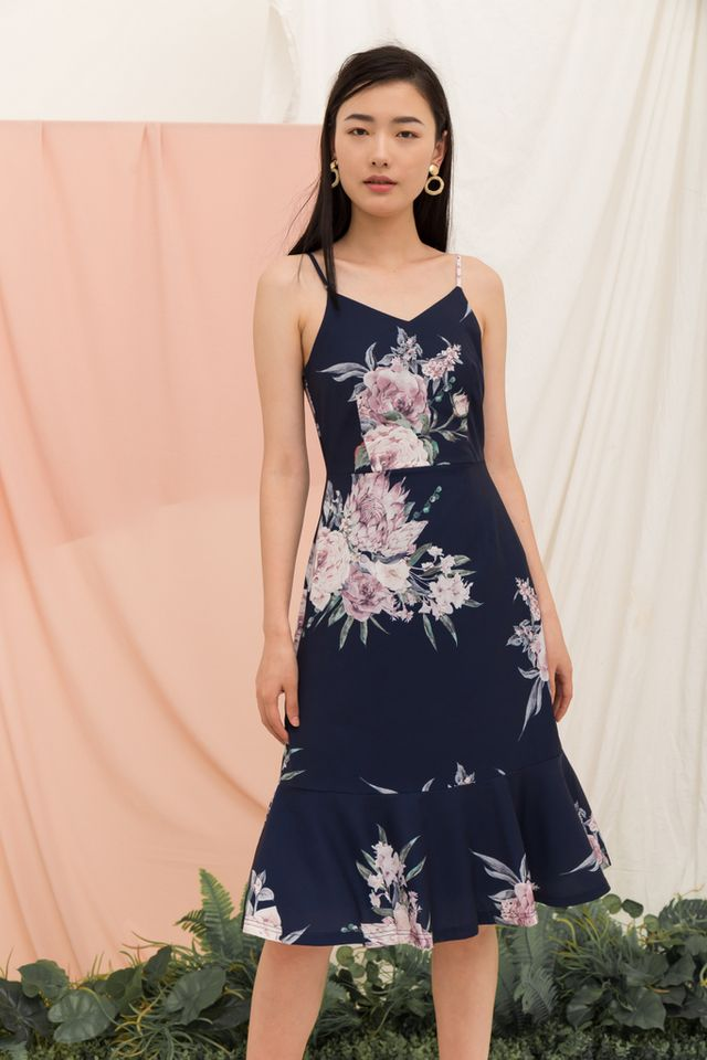 Krystle Floral Midi Dress in Navy