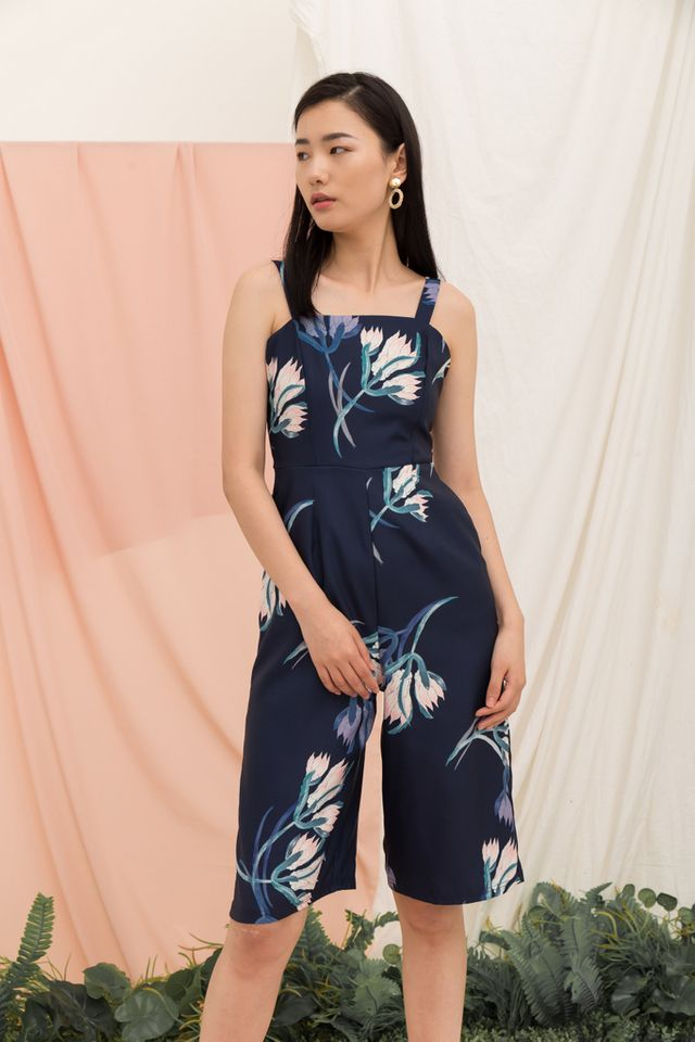 Edara Floral Midi Jumpsuit in Navy