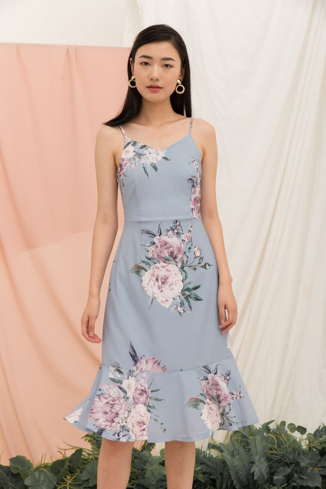 Krystle Floral Midi Dress in Ash Blue