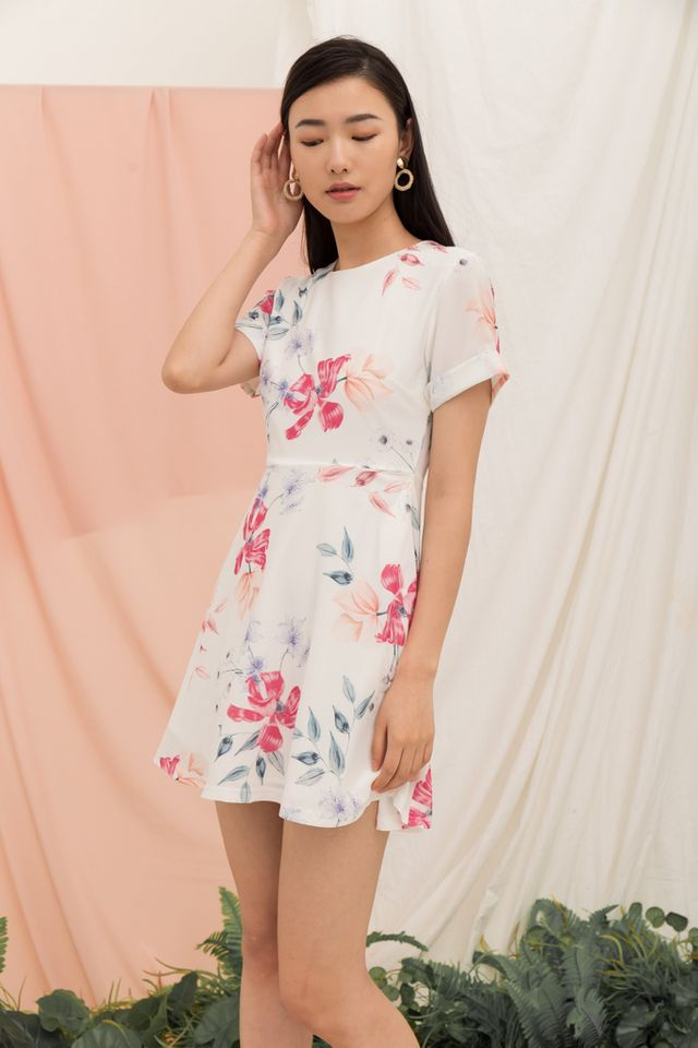 Lynzy Floral Skater Dress in White