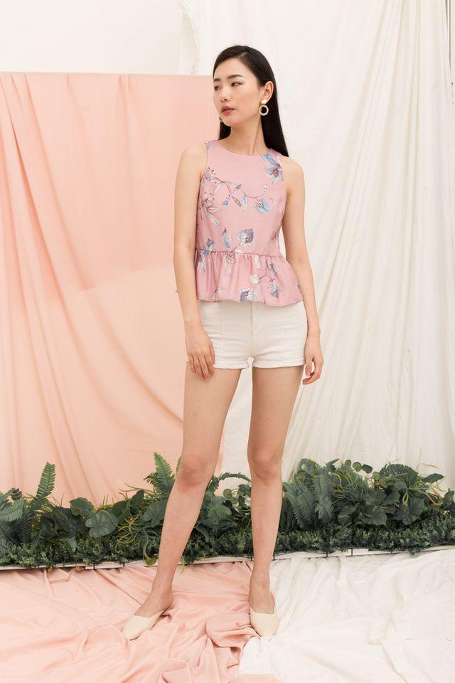 Darya Floral Babydoll Top in Pink