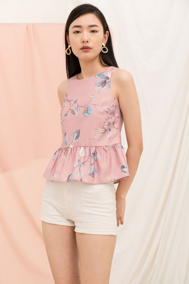 Darya Floral Babydoll Top in Pink