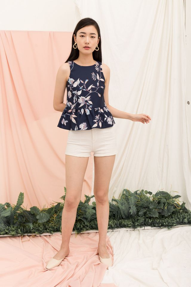 Darya Floral Babydoll Top in Navy