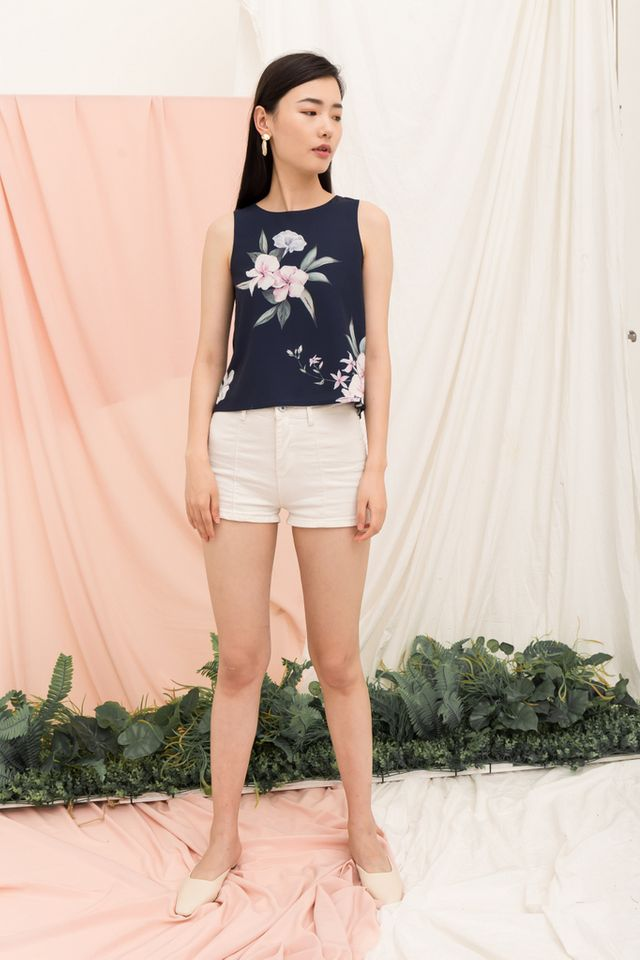 Patel Floral Top in Navy