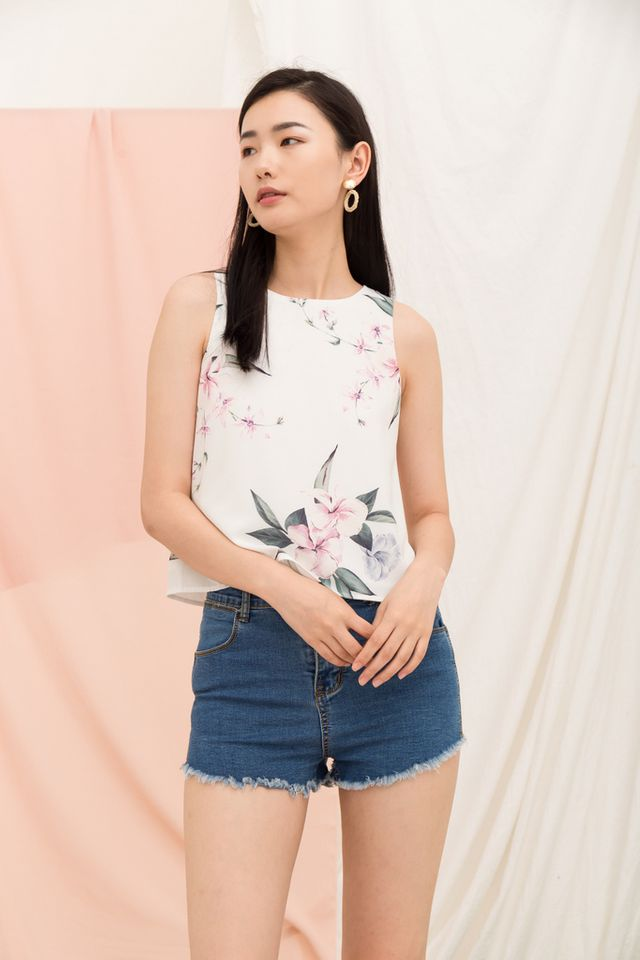 Patel Floral Top in White