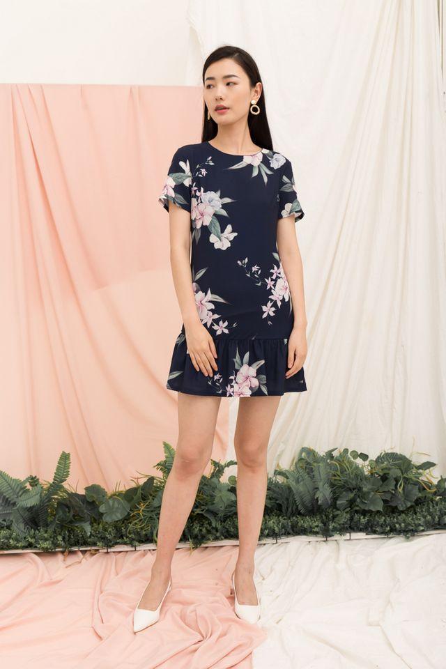 Braedynn Floral Dropwaist Dress in Navy